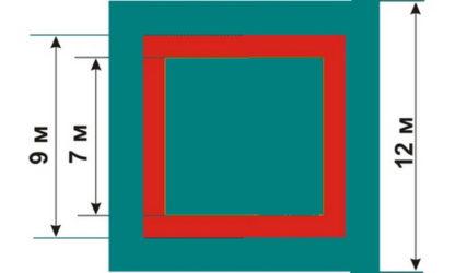 Борцовский ковер трехцветный с люверсами 8х8 м